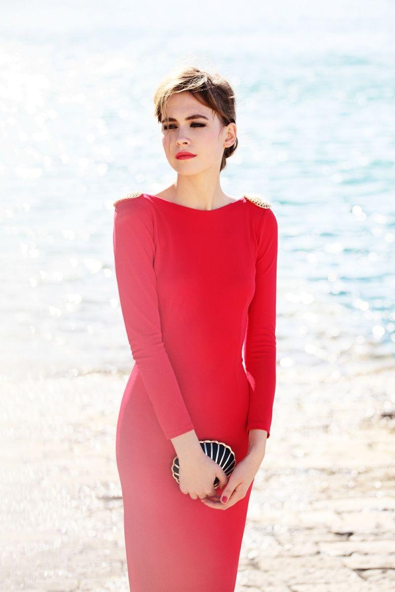 Vestidos de fiesta rojo pegado