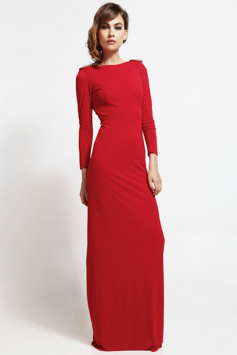 a9b2a5a29b Long red party dress neckline in back with gold chain for guest