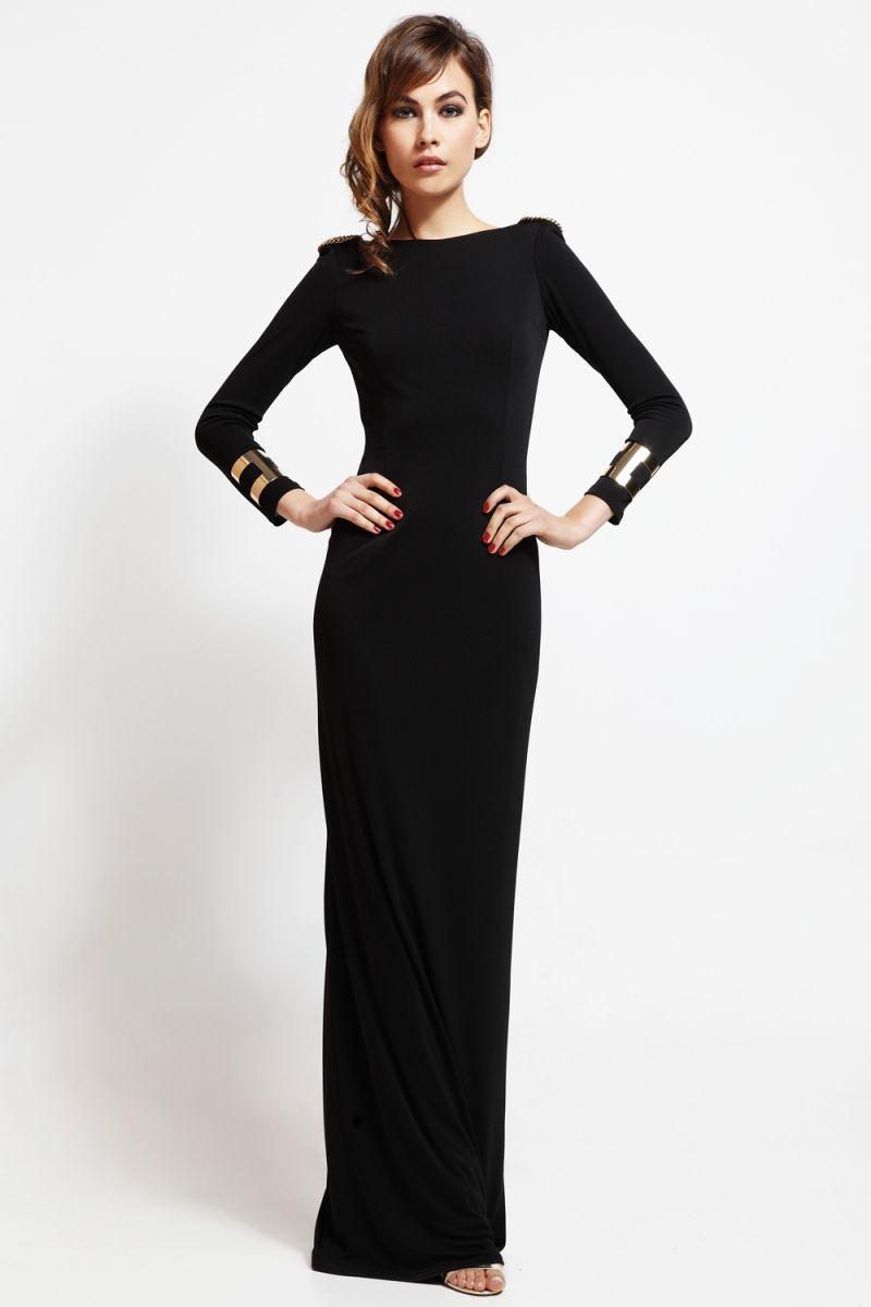 Vestido Largo De Fiesta Negro Escote En Espalda Con Cadena Dorada