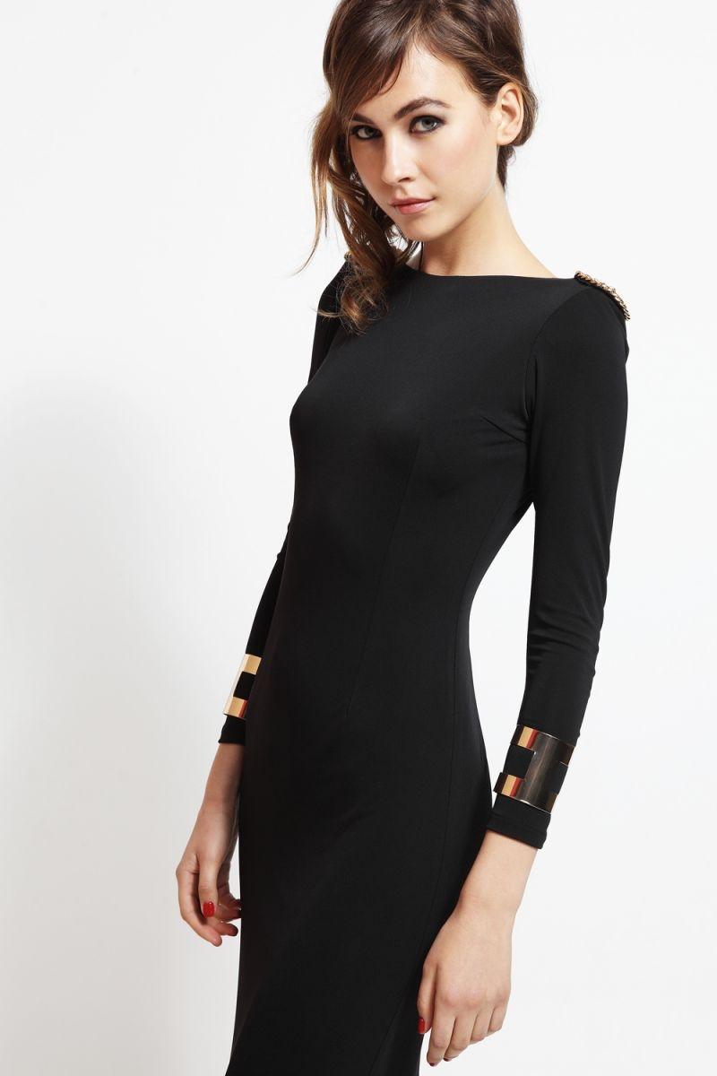 vestido largo de fiesta negro escote en espalda con cadena dorada 8df3dc456faa