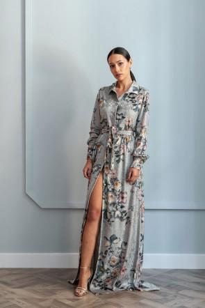 ca5913112 vestido camisero para invitadas de bodas de terciopelo fino estampado  flores con botones cinturon para invitadas