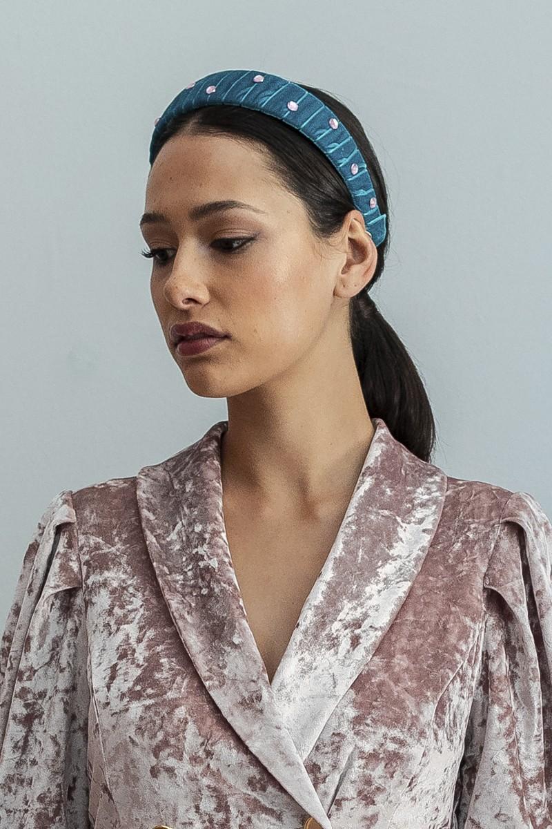 gran selección de 2019 muy baratas bajo costo Diadema Terciopelo Azul y Piedras Rosas