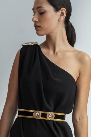 comprar online cinturon joya de terciopelo negro y dorado para eventos  fiestas bautizos comuniones bodas ocasiones 4068d598caa8