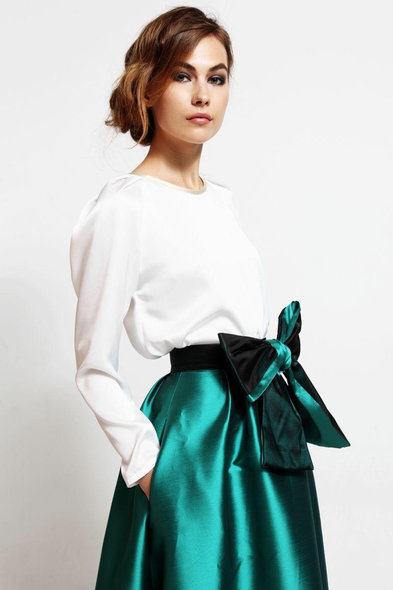 Blusa de fiesta con mangas abullonadas volumen hombros blanco roto - Como hacer blanco roto ...