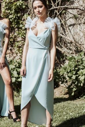 541c73ed55 compra online vestido de fiesta midi con volantes de plumetti en tirantes  para invitadas a boda