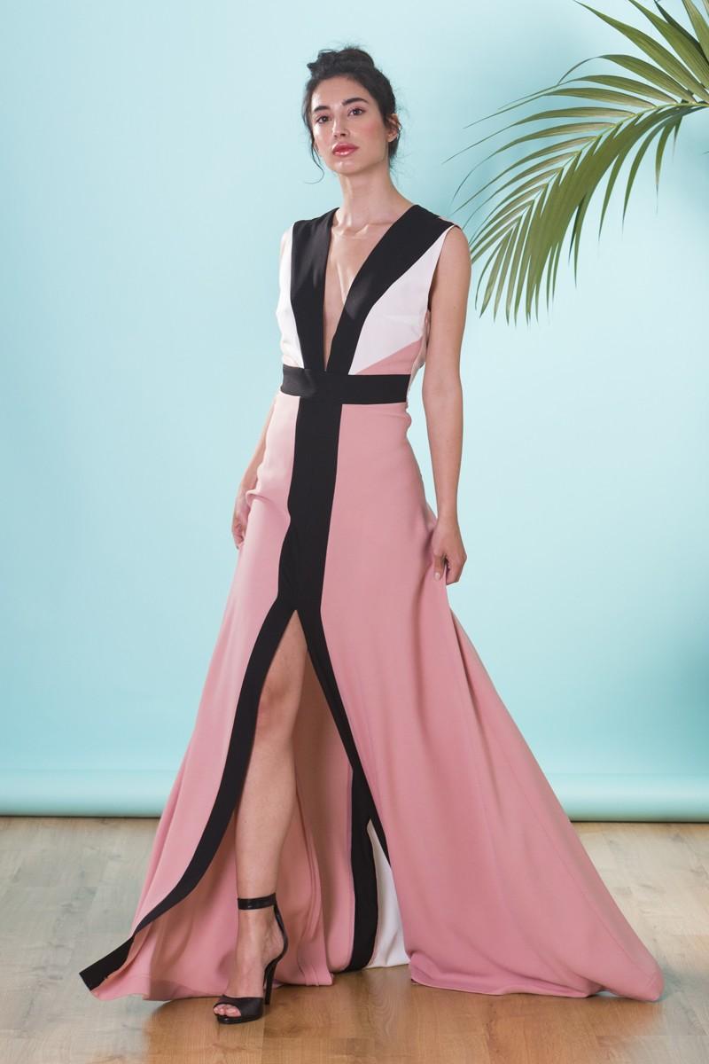 Vestido Largo Rosa Combinado Chiara