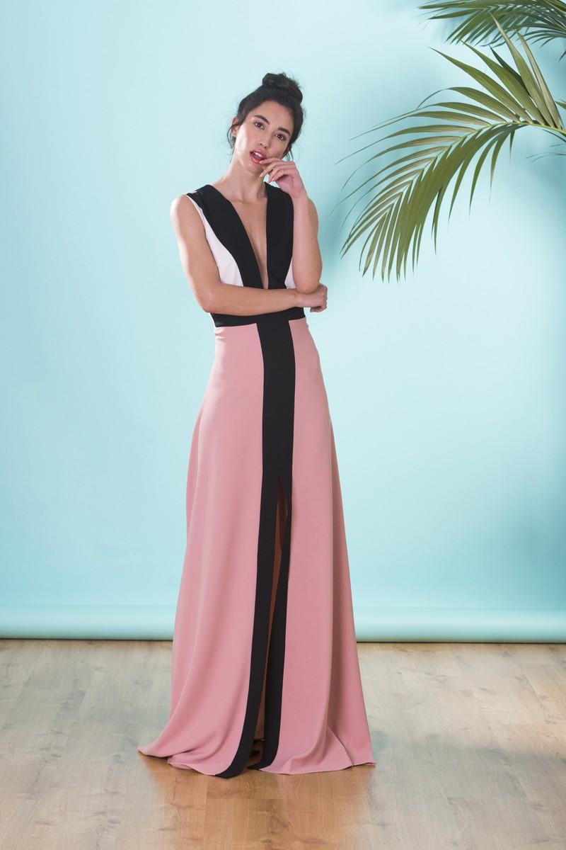 Vestido Largo De Invitada Boda Con Escote Espalda 3 Colores