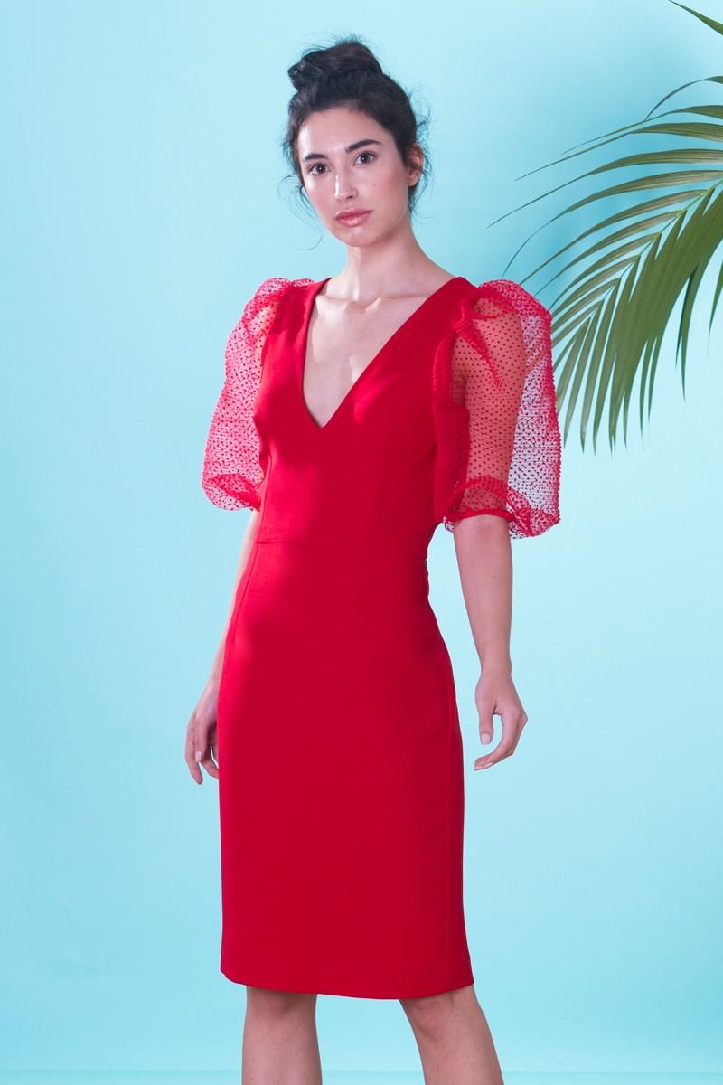 cb5dc90e964 Vestido corto de fiesta rojo con escote pico y manga farol de plumetti para  invitada a