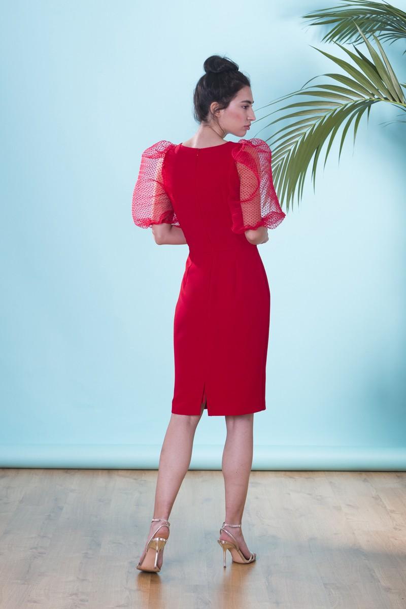 a46356956 Vestido corto de fiesta rojo con escote pico y manga farol de plumetti para  invitada a