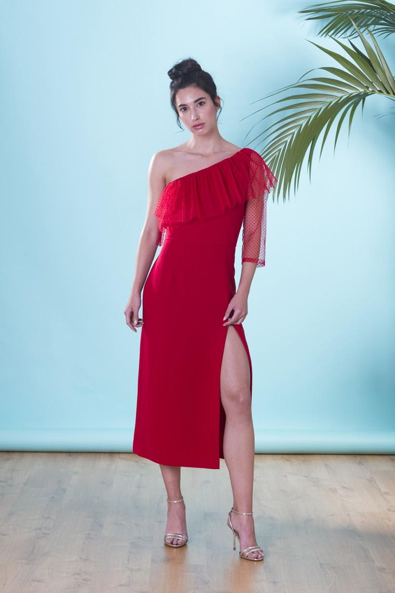 Vestido Rojo Asimétrico Plumetti Pia