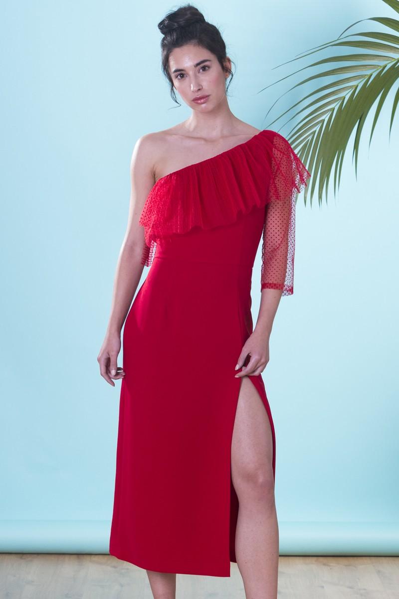 clásico calidad real mejores ofertas en Vestido Rojo Asimétrico Plumetti Pia