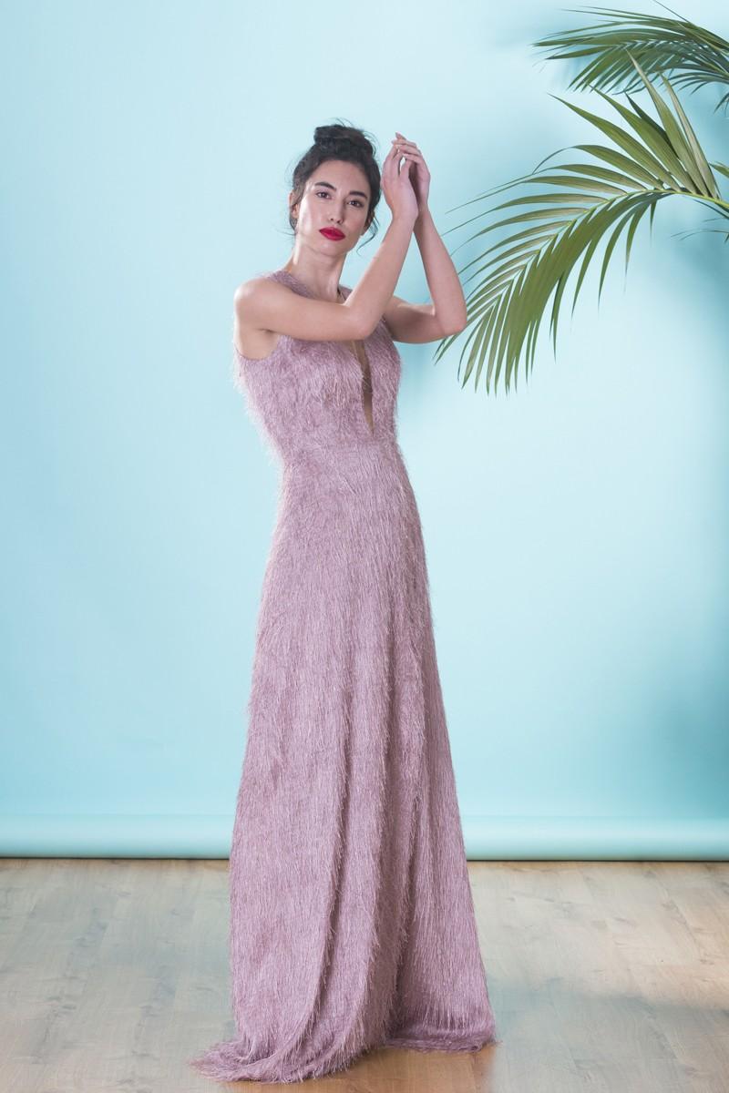 Nueva York amplia selección fecha de lanzamiento: Vestido Largo Flequito Rosa Tiziano