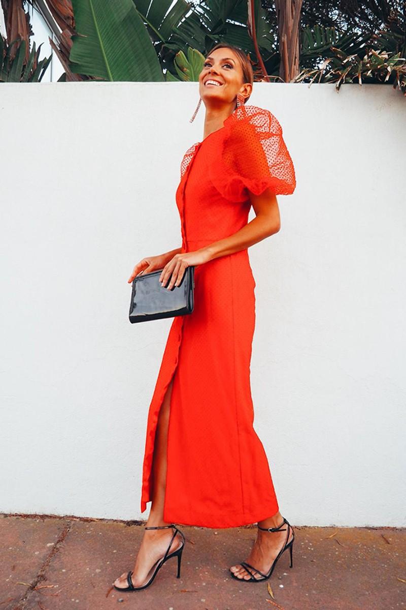 Vestido Rojo Mangas Plumetti Grazia