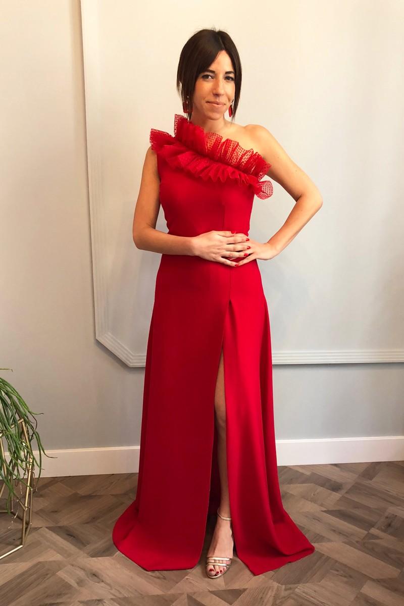 Vestido Largo Rojo Plumetti Gia