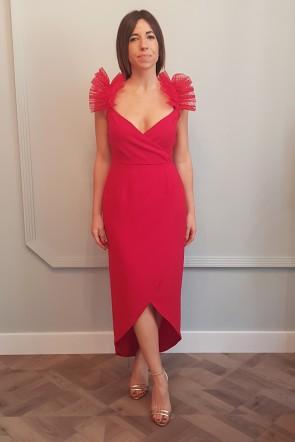 041ef5f44 compra online vestido de fiesta largo rojo midi cruzado con volantes de  plumetti en tirantes para
