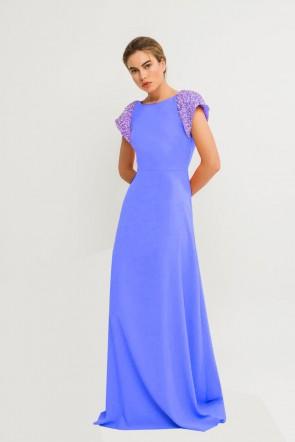 6cf4af983 comprar vestido largo de fiesta azul con pedrería en los hombros y escote  en la espalda
