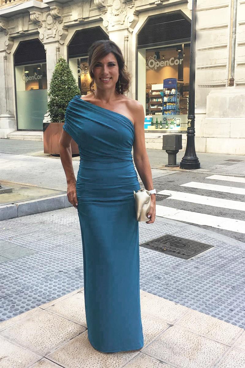 Vestido Largo Drapeado Azul