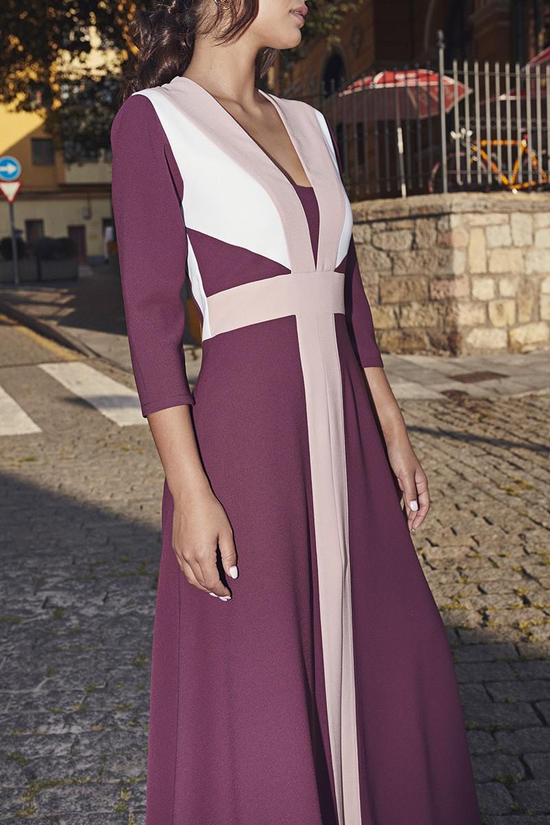 Vestido Largo Combinado Burdeos Chiara