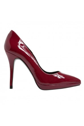 salones stiletto charol granate rojo