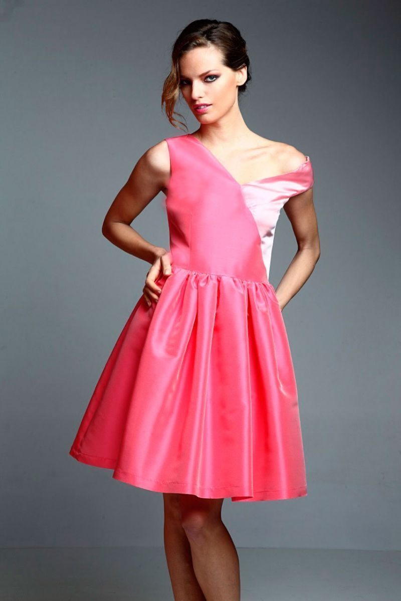 Pink short dress with asymmetrical straps from apparentia