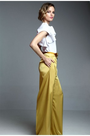pantalon ancho mostaza para invitadas boda fiesta cocotel online de apparentia collection