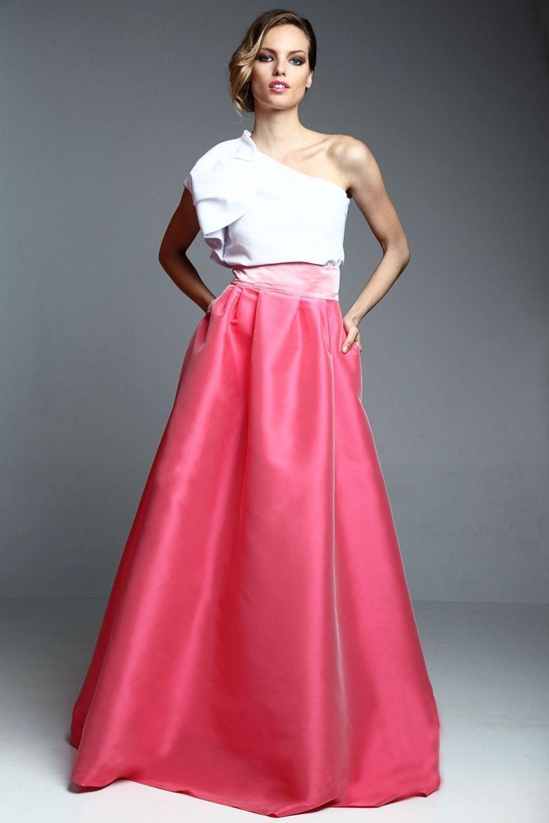 falda larga volumen saten rosa para invitada boda, fiesta de