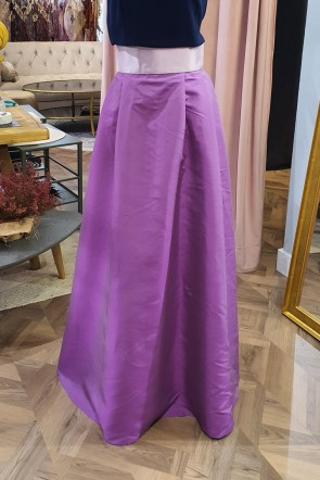 falda larga con volumen evase morado lila para boda fiesta de apparentia collection online