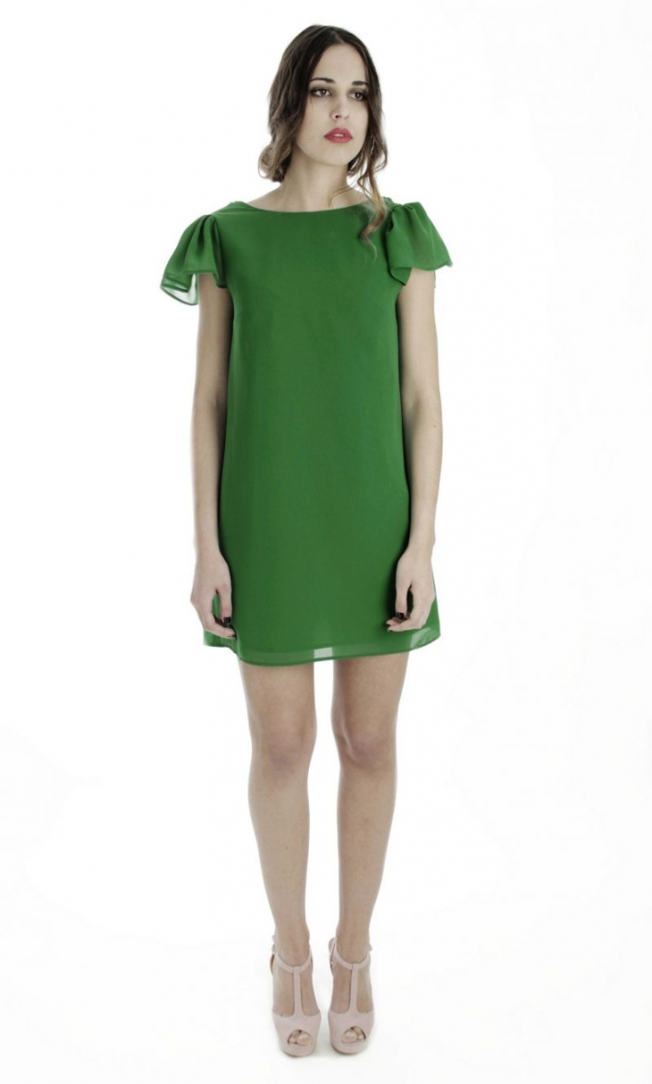 5c398dc12 Short party dress in green gauze. Cocktail dress for wedding guest