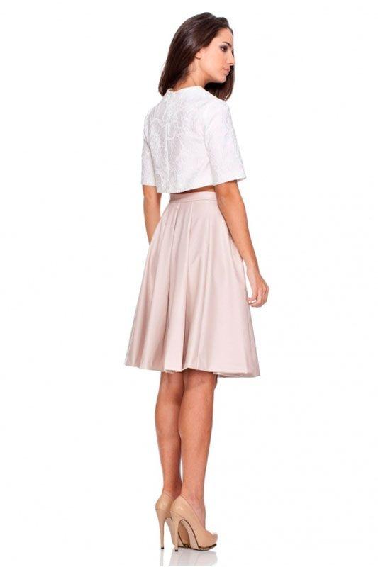 c375d535f Falda rosa palo de vuelo de efecto piel con largo midi de rocknrom