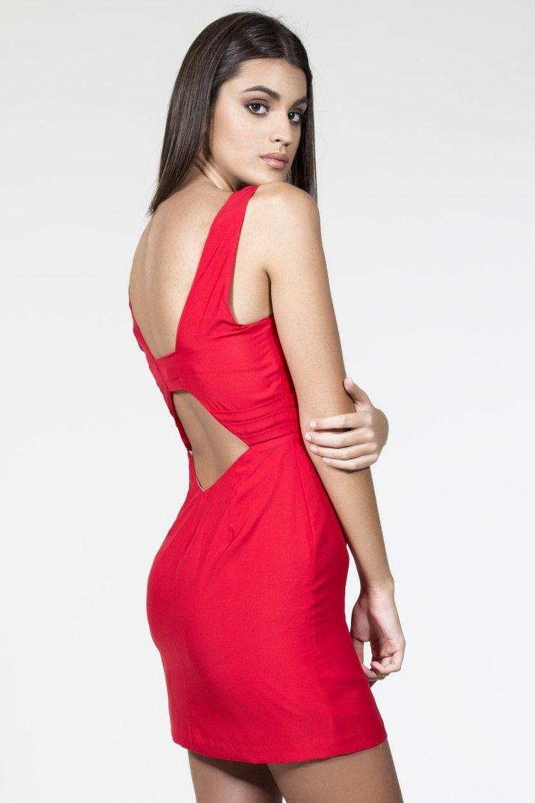 3fbd21fbb5a61 Vestido de coctel corto rojo corte recto escote en la espalda daluna