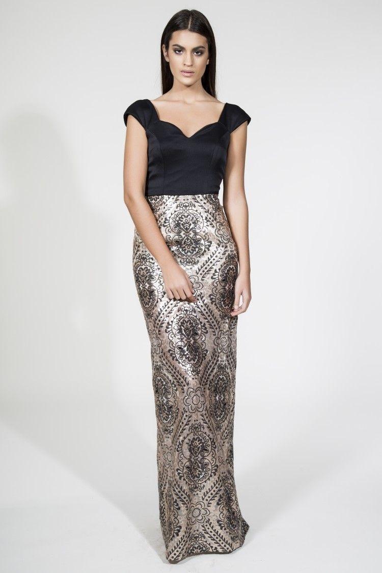 176af6b60 Vestido largo con falda brocada dorada y negra. Vestidos de fiesta para  invitadas boda noche
