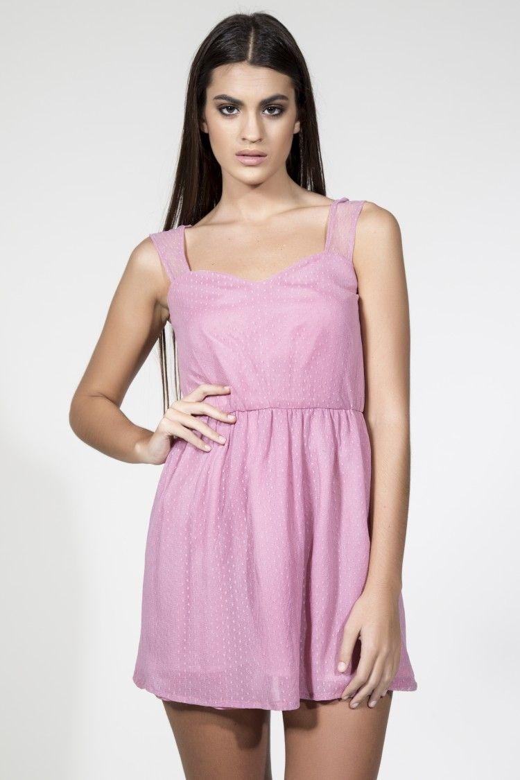 Vestido corto rosa de gasa plumetti. Vestido de fiesta para boda,