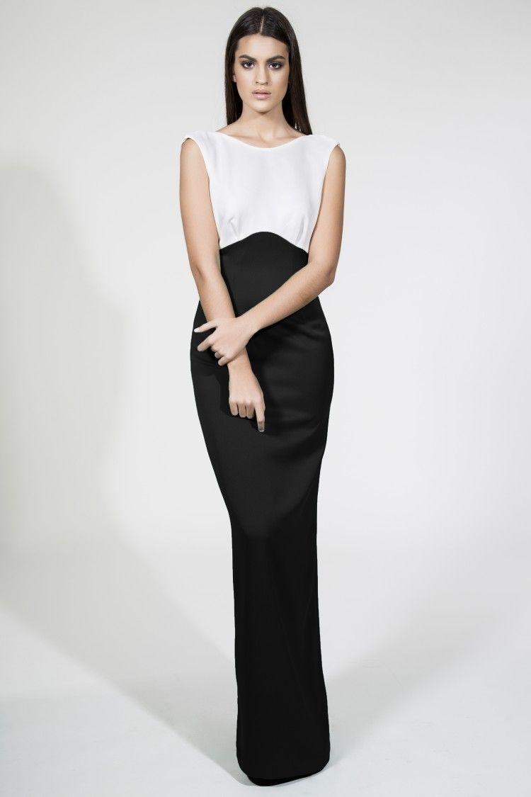 Vestidos largos de fiesta negro con blanco