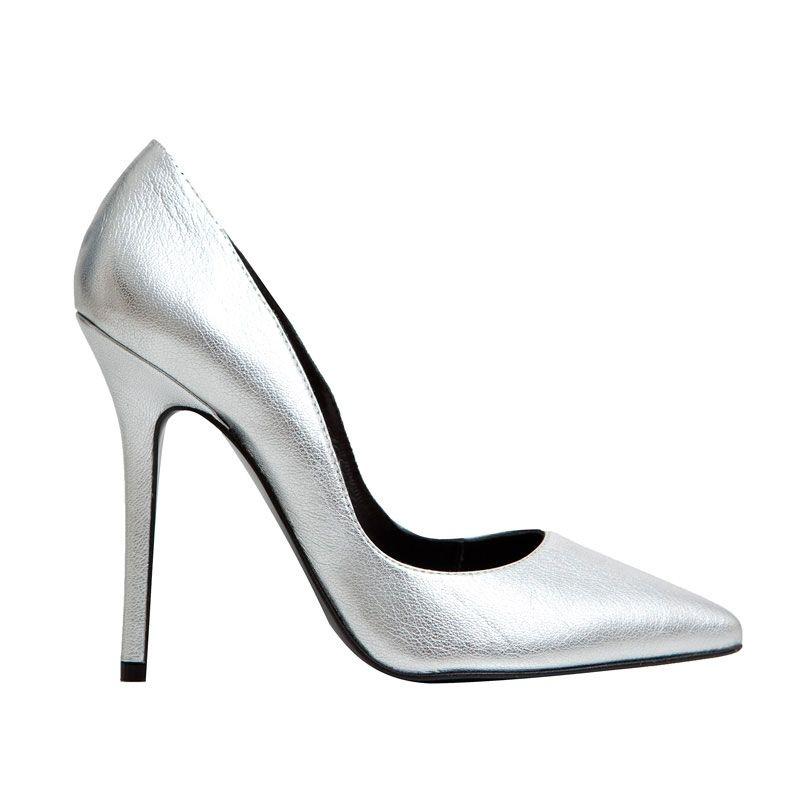 2d1e009d2f5 Zapatos de salón stiletto de piel plata de mas34 online