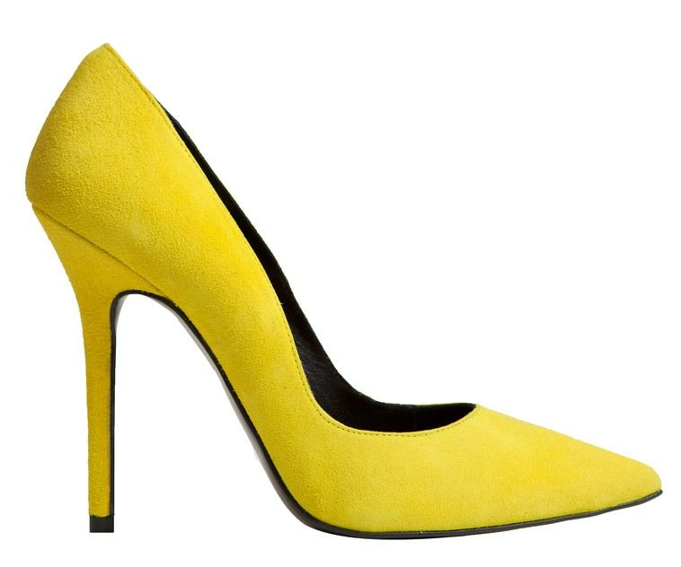 Zapatos salon stiletto de ante en color fluor amarillo de 10,5 cm de mas34