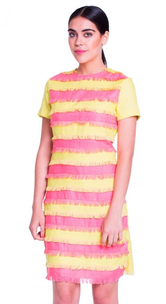 Vestido de flecos corto amarillo y rosa en rafia de seda natural