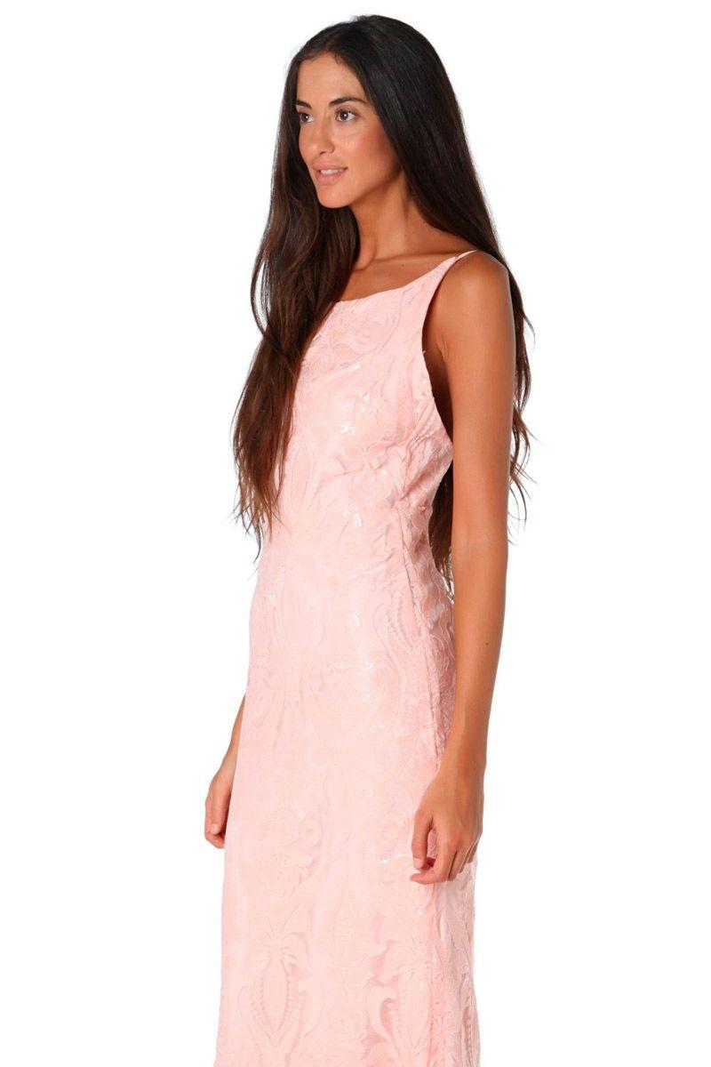 Vestido largo de lentejuelas rosa de Q2