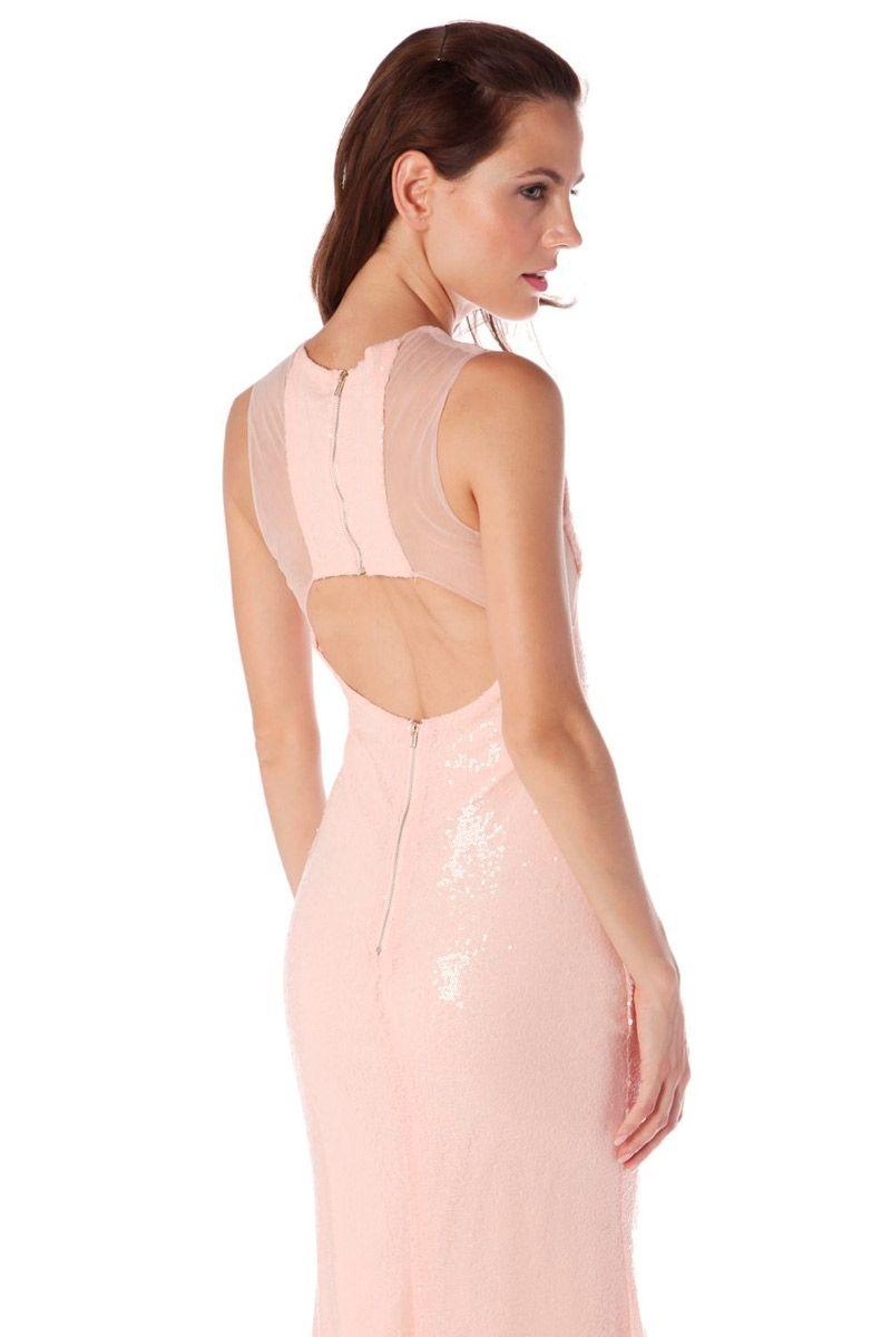 vestido rosa largo de lentejuelas
