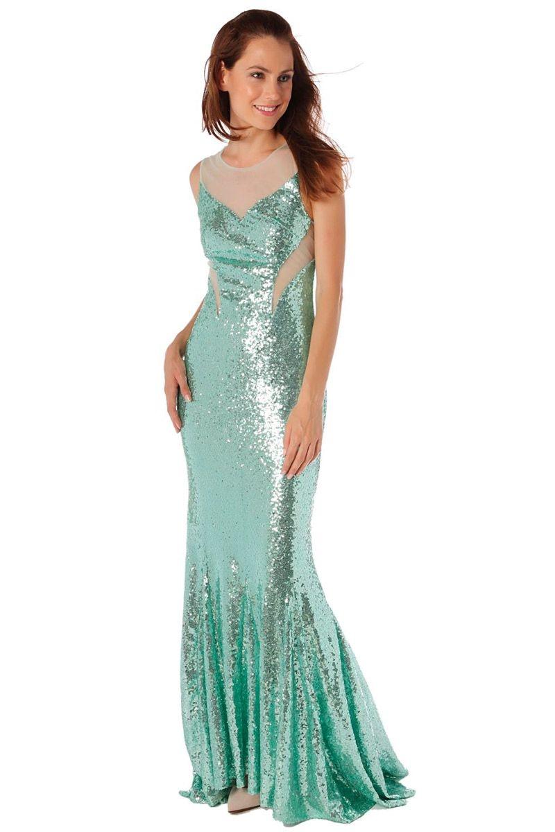 Vestido corte sirena verde agua