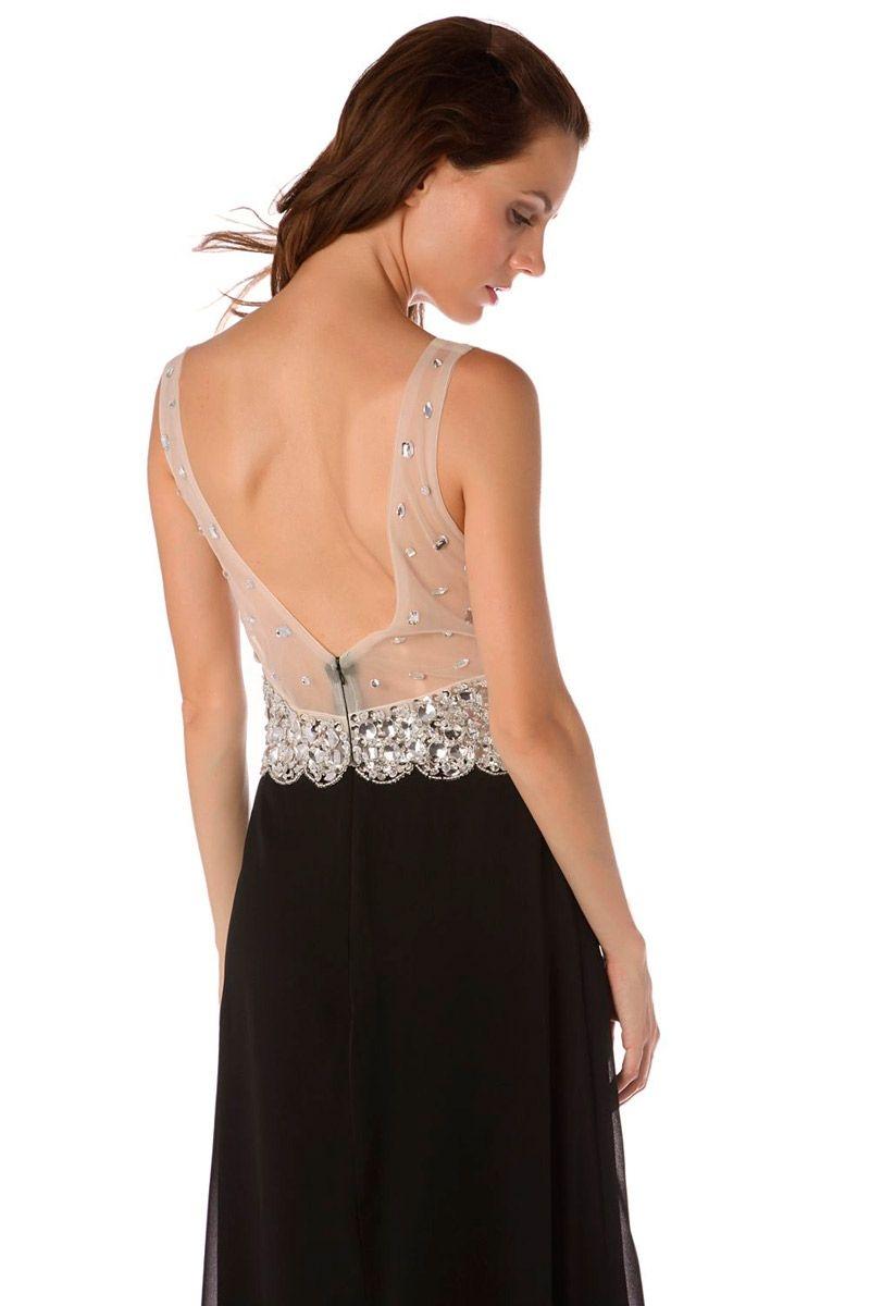 df266cd68 comprar vestido largo negro y plata con pedreria y lentejuelas y escote  pronunciado para eventos y
