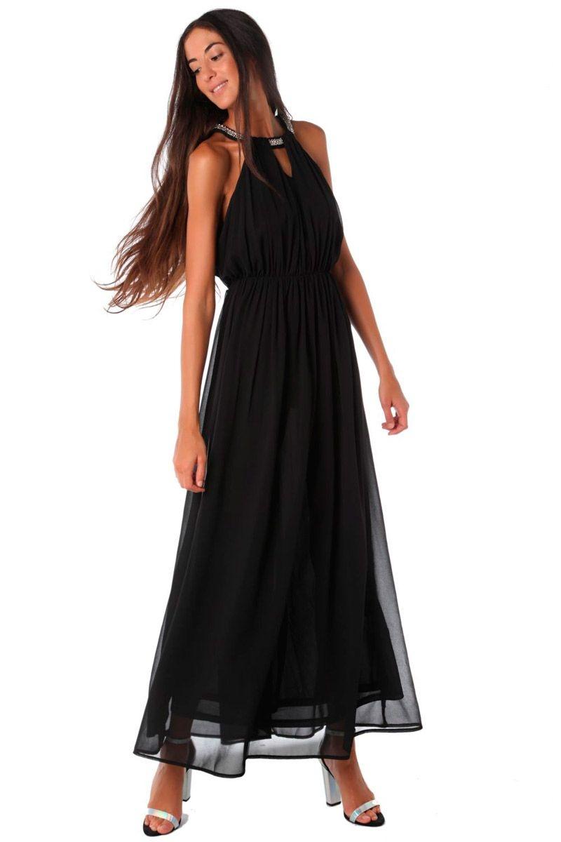 Vestido largo negro para fiesta