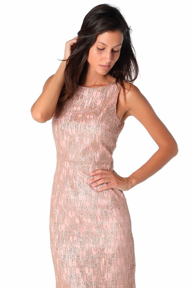 Vestido rosa palo efecto brillo