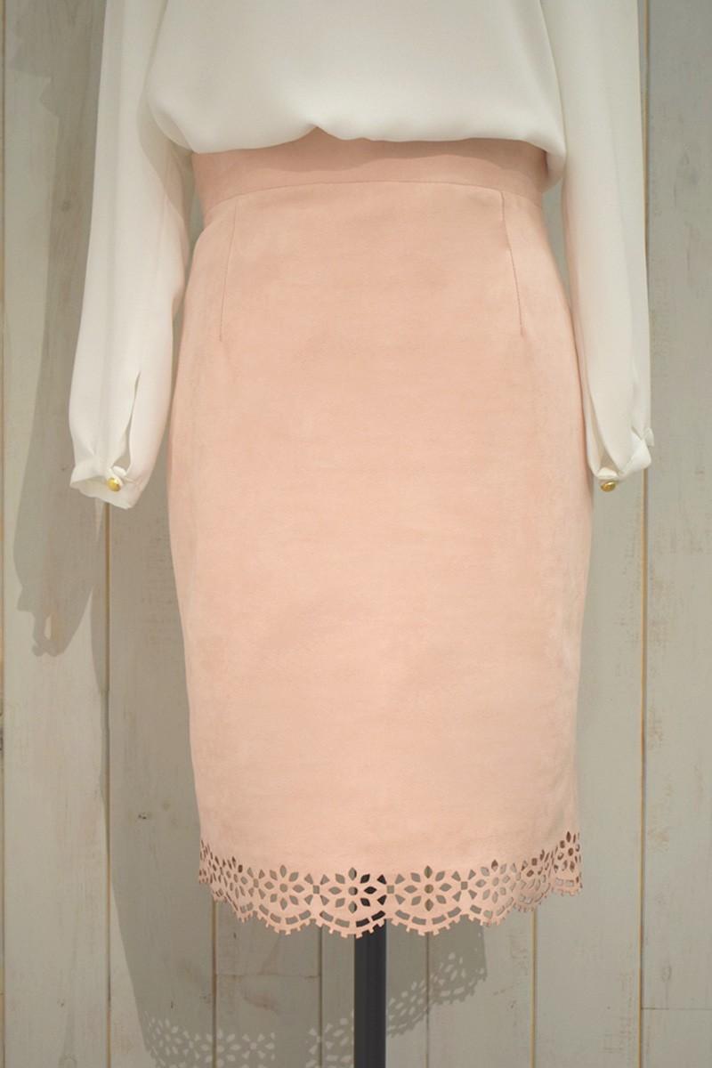 255c51f99a faldas de ante rosa recta corta de otoño invierno de oficina trabajo  ocasiones especiales coctel evento