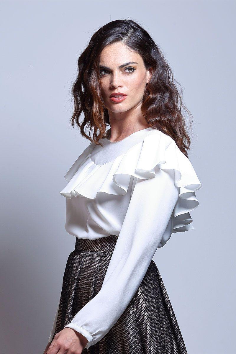 Blusa Blanca Volante Gea
