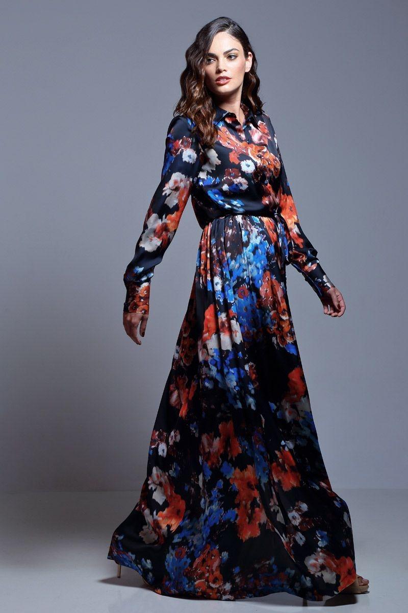 vestido camisero con estampado de flores largo de manga larga de otoño  invierno para fiestas eventos dba739b98078