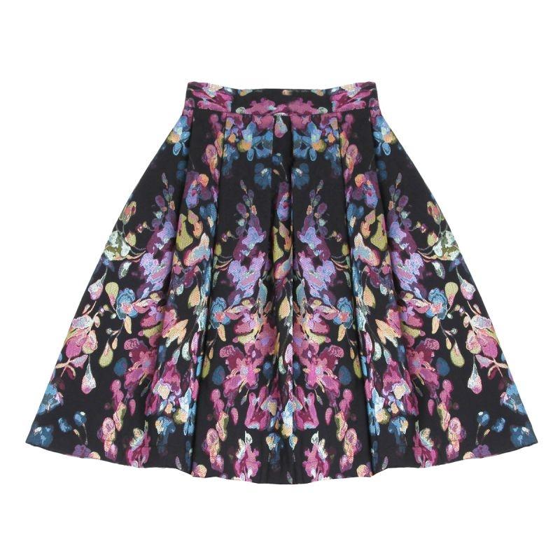 349cebd9df5 falda de vuelo midi de fiesta con estampado de flores negro verde azul rosa  para otoño