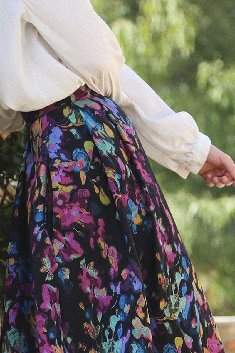 396be80ec1f falda de fiesta midi de vuelo de otoño invierno con talle en la cintura y  estampado
