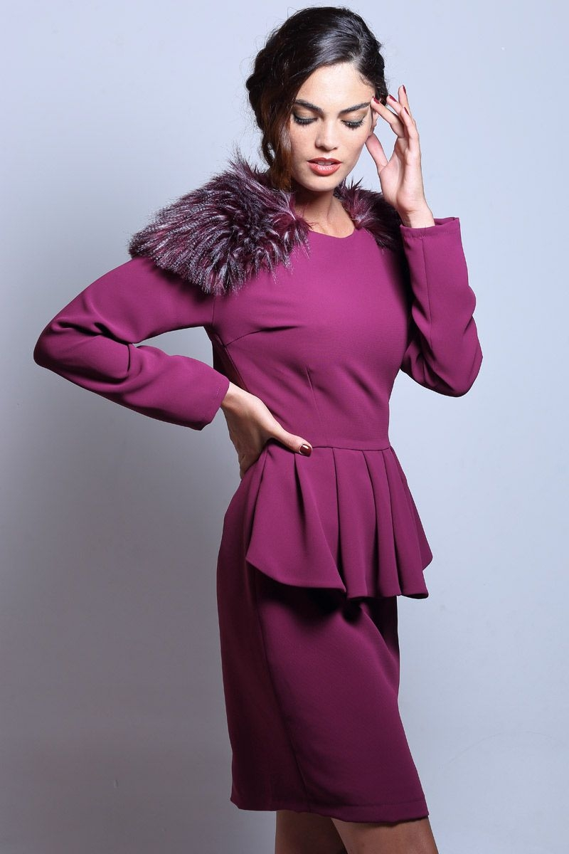 Peplum and fur ruffles party dress