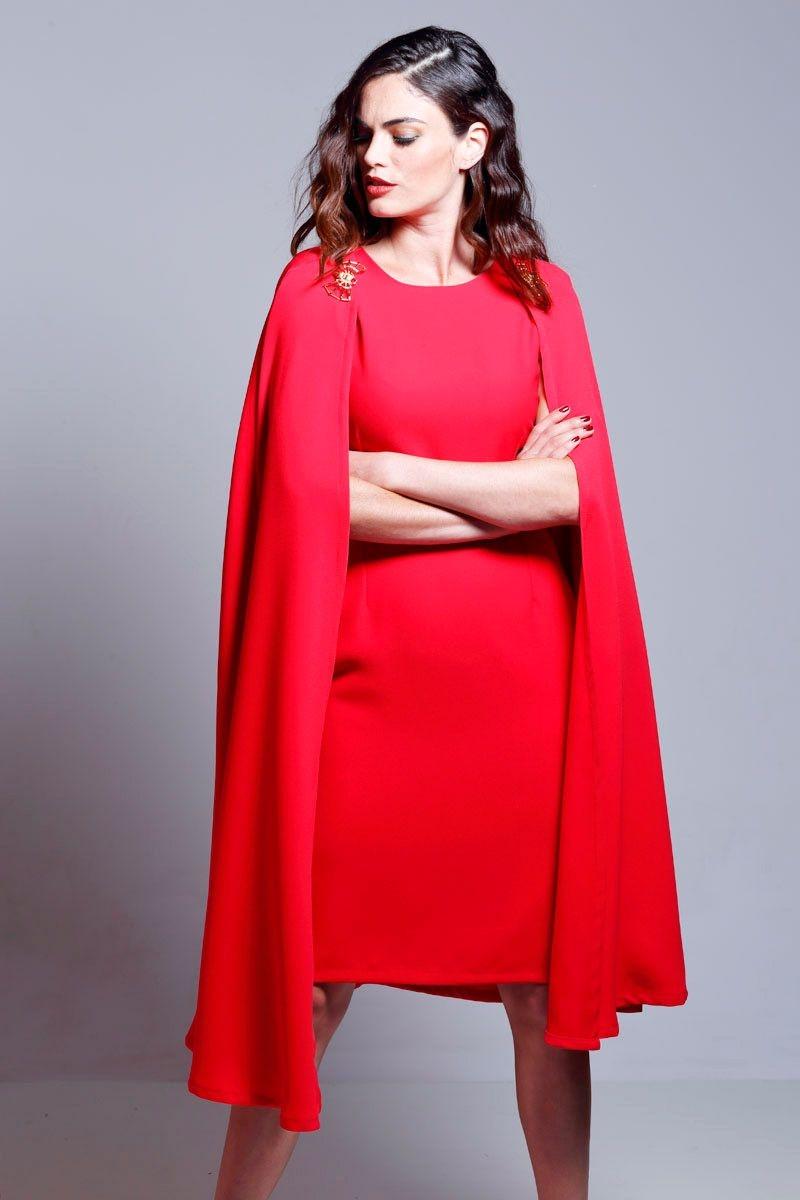 9d6e9564b vestido rojo de fiesta con capa y broches dorados de otoño invierno para  bodas fiestas eventos