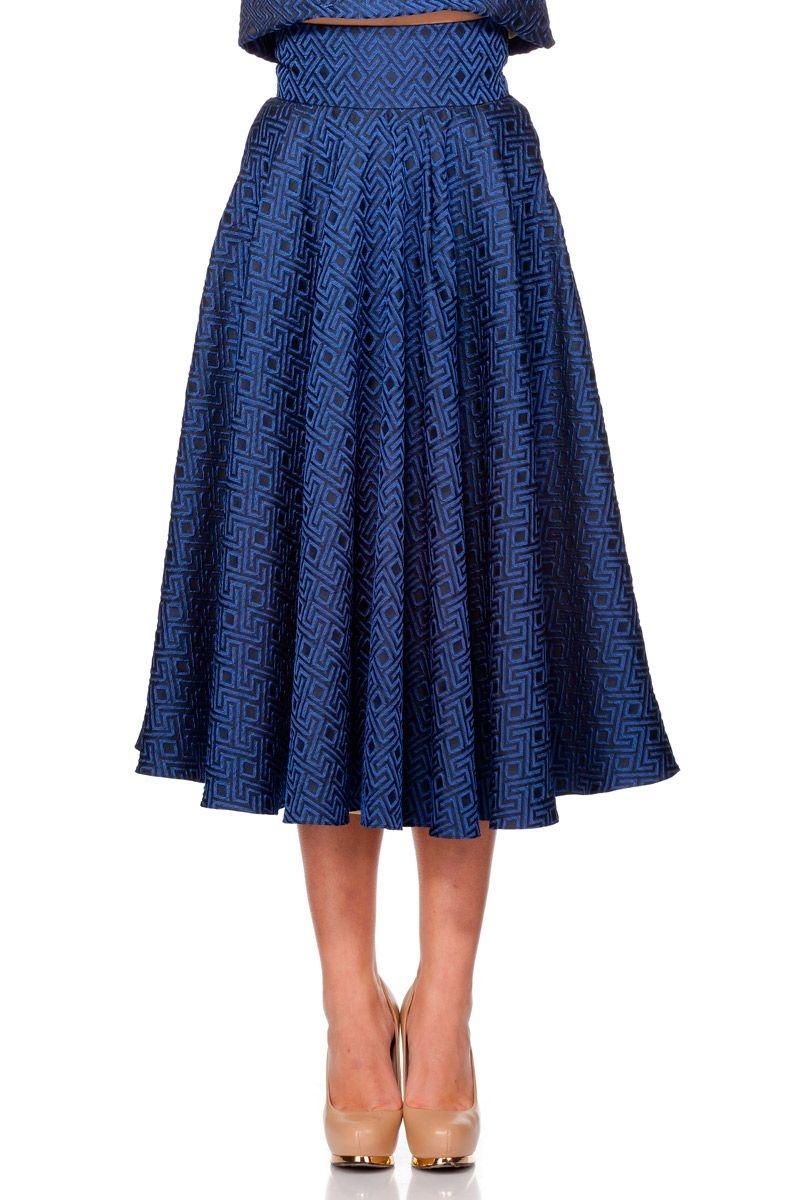 5d46955530 falda midi de vuelo azul para fiestas bodas eventos coctel de rocknrom en  apparentia